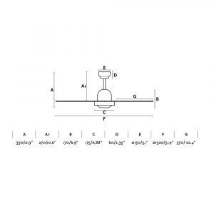 """FARO IBIZA 33287 52"""" matný nikl/šedá/javor Reverzní stropní ventilátor"""
