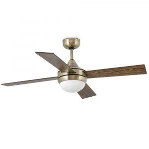 "FARO MINI ICARIA 33695 42"" starožitná mosaz/hnědá/dub Reverzní stropní ventilátor"