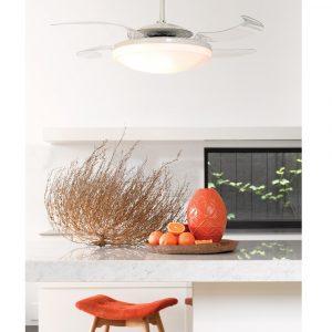 FANAWAY EVO2 210931 48″ matný chrom/transparentní Reverzní stropní ventilátor