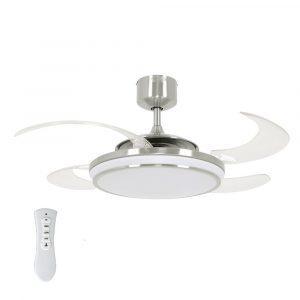 FANAWAY EVO1 LED 211036 48″ matný chrom/transparentní Reverzní stropní ventilátor