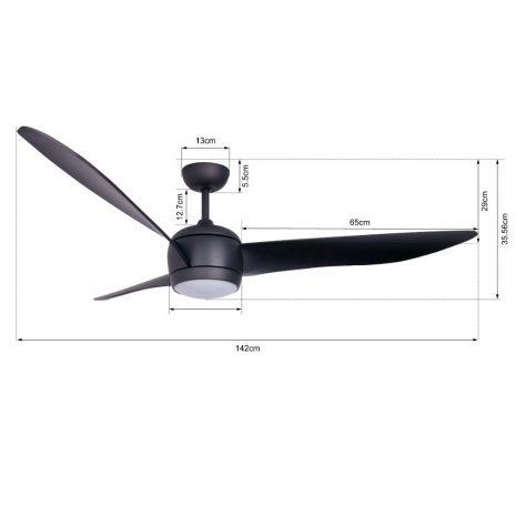 """BEACON LUCCI AIR NORDIC LED BLACK 512910 56"""" černá/černá Reverzní stropní ventilátor"""